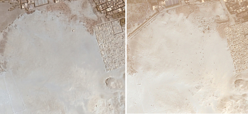Satellite image of South Abusir, Egypt. The left image was obtained in 2009. The image on the right in 2011, and lootings are quite visible. Photo, courtesy Sarah Parcak.